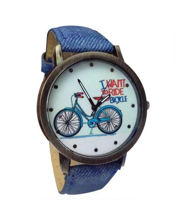 Blue Denim Strap Bicycle Watch for Women