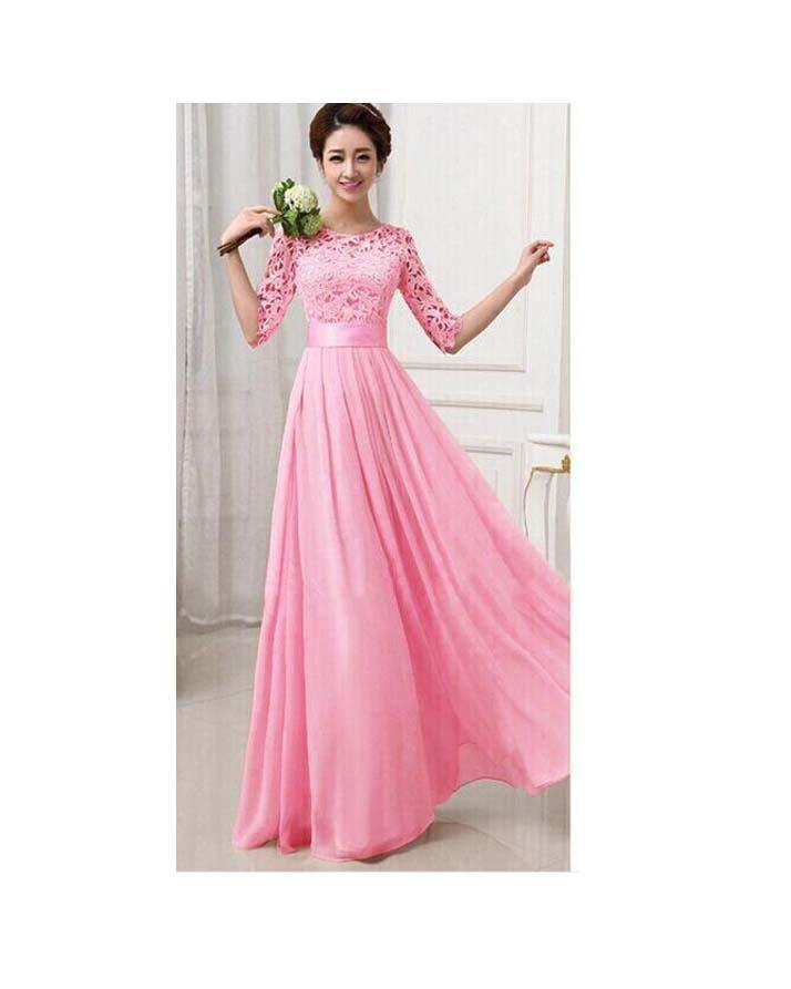 Pink Gown with Sleeves