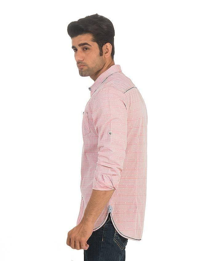 Pink Cotton Self-Printed Casual Shirt For Men
