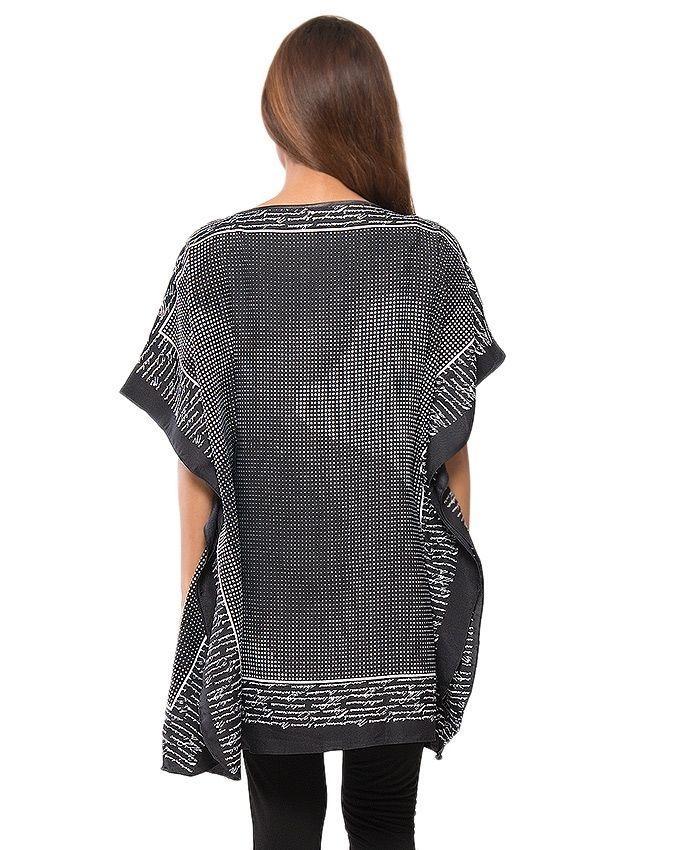 Black & White Dot Printed Twill Peach Fabric Poncho - PON09-07