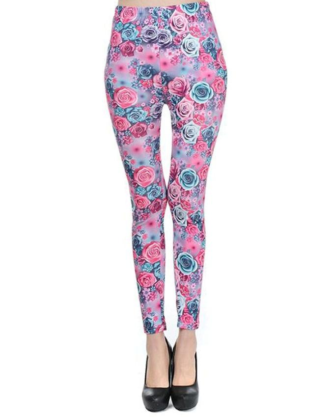 Blue Cotton Floral Tights For Women