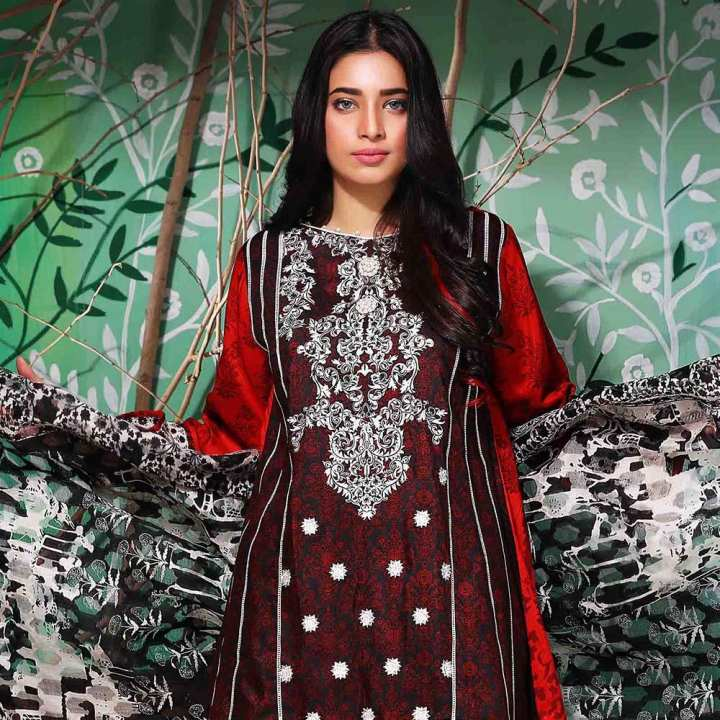 Tawakkal Azure Embroidered Viscose Suit - 3983-A