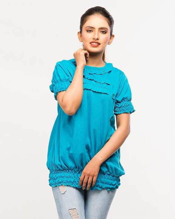 VISCOSE WOMENS SKY BLUE SMOKING FLARED TOP