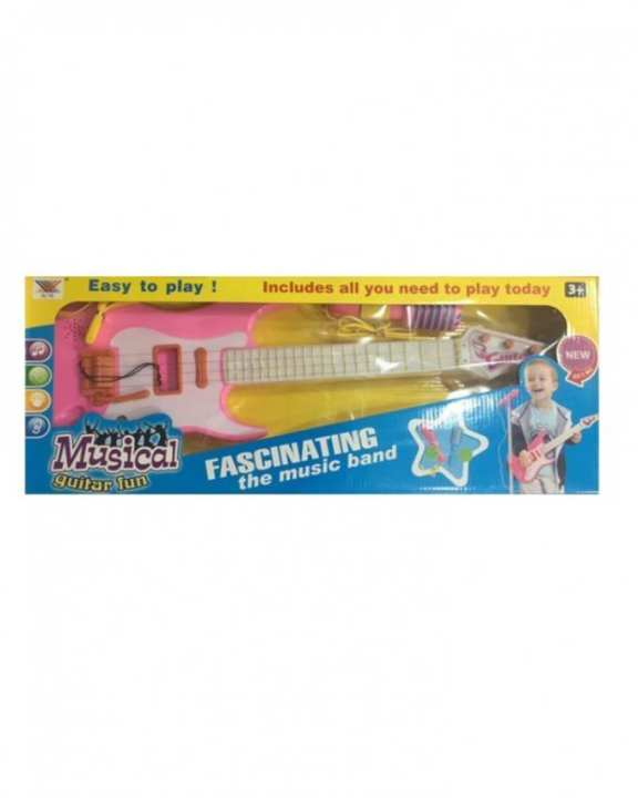 Musical Guitar with Mic For Kids - White & Pink