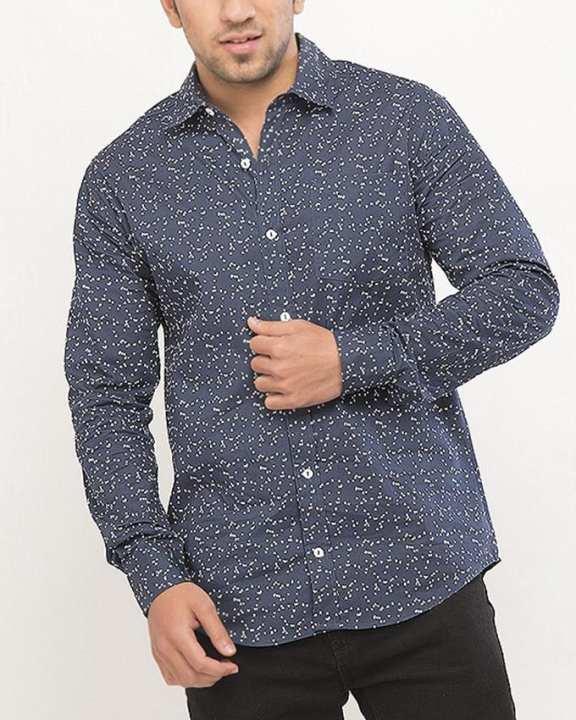 Blue Cotton L/S Woven Shirt for Men Special Online Price