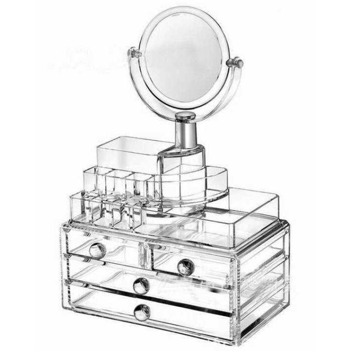 Cosmetics storage box Organizer With Mirror - Transparent