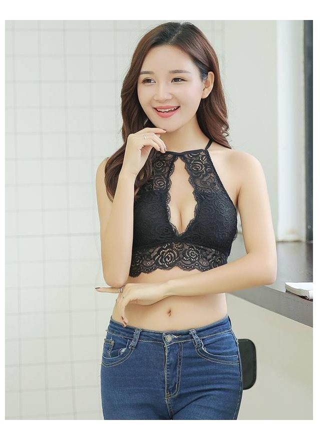 db2d63059c Strappy Lace Sexy lingerie Women Lace Bralette brassiere wirefree crop bra  top