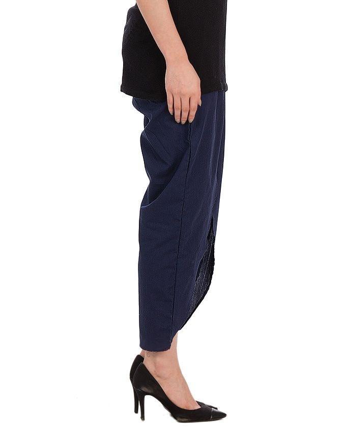 Navy Blue Cotton Tulip Pant For Women
