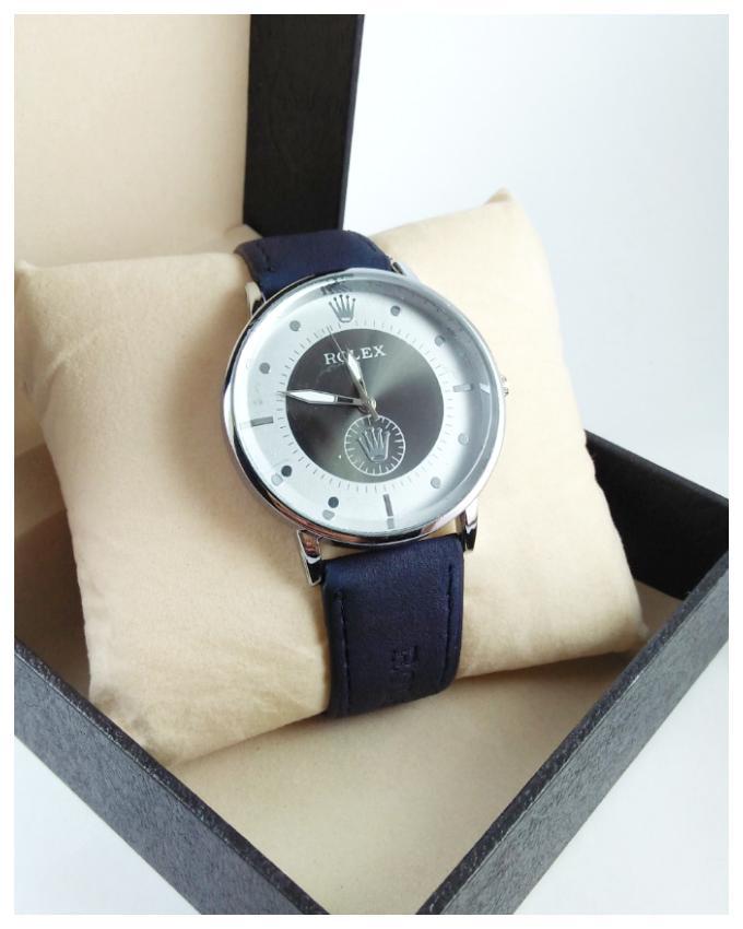 Elegant watch - Men's fashion - Analog - Blue - Leather strap