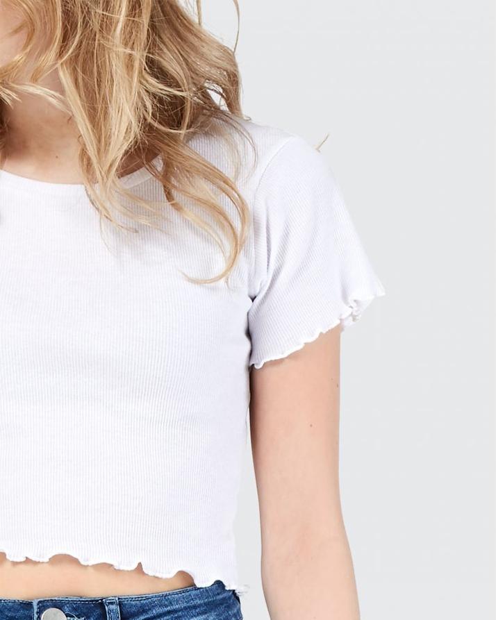 White Edge Crop T-Shirt For Women