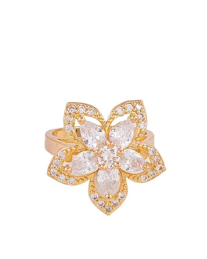 Golden Zircon & Alloy Studded Ring for Women - M-29