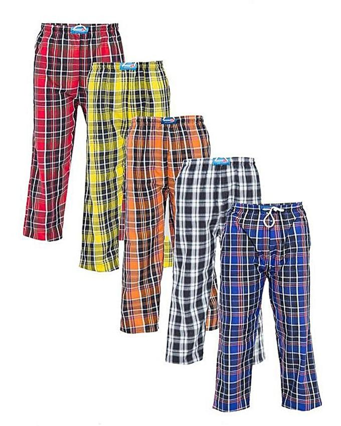 Pack Of 5 Multicolor Cotton Checkered Pajamas For Men