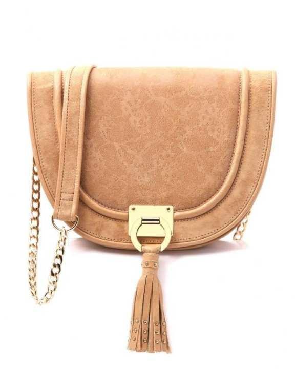 Beige Leather Halfmoon Bag