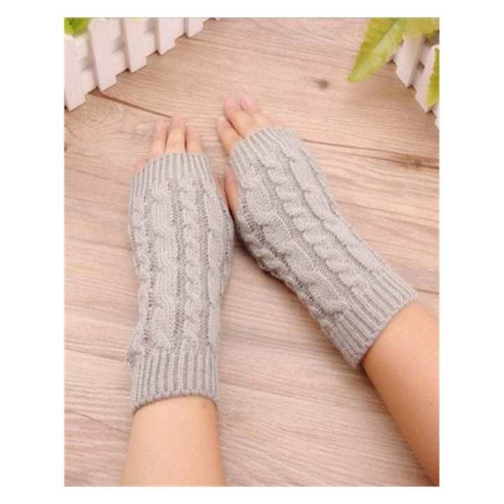 Knitted Short Fingerless Gloves for Office Women Worker - LIGHT GREY
