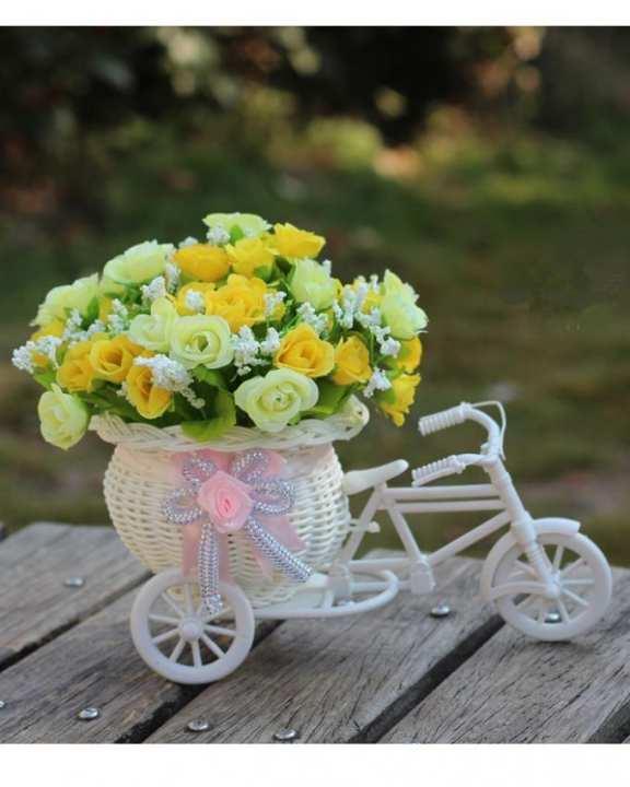 Silk Artificial Flower Basket Set For Home Decoration