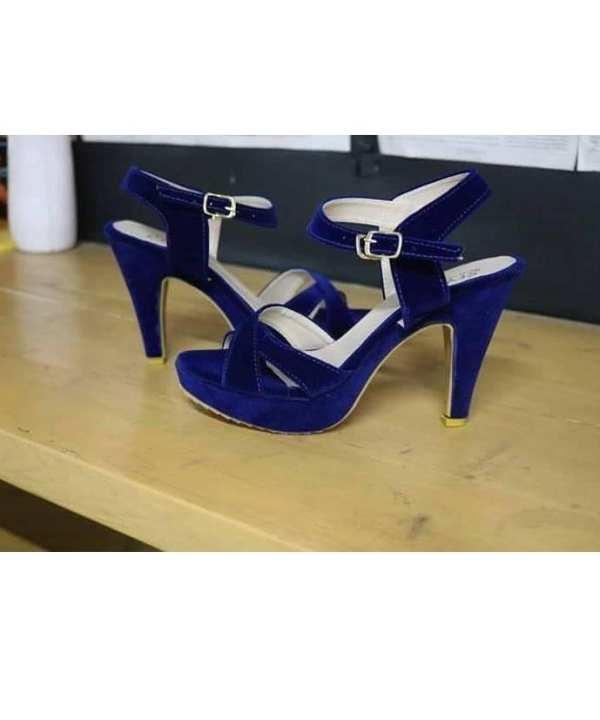 4 Inches - Blue Velvet Heel For Her - Blue Colour