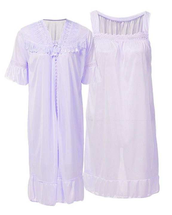 Purple Nylon & Net Blossom Nightwear For Women