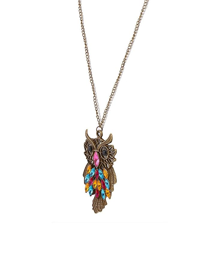 Multicolor Alloy Owl Necklace for Women