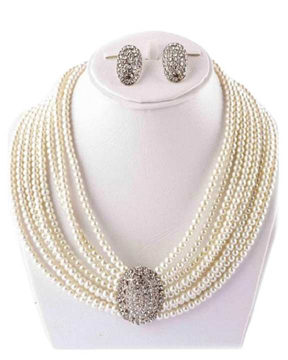 Jewelry Set with Center Silver Stone - Off White