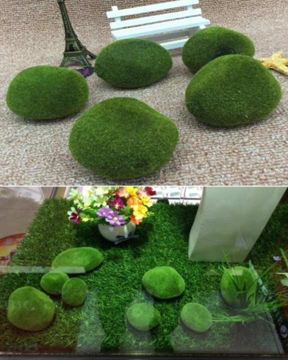 Pack Of 5 Artificial Grass Stone Water Moss Terrariums Home Accessories / Garden Decoration