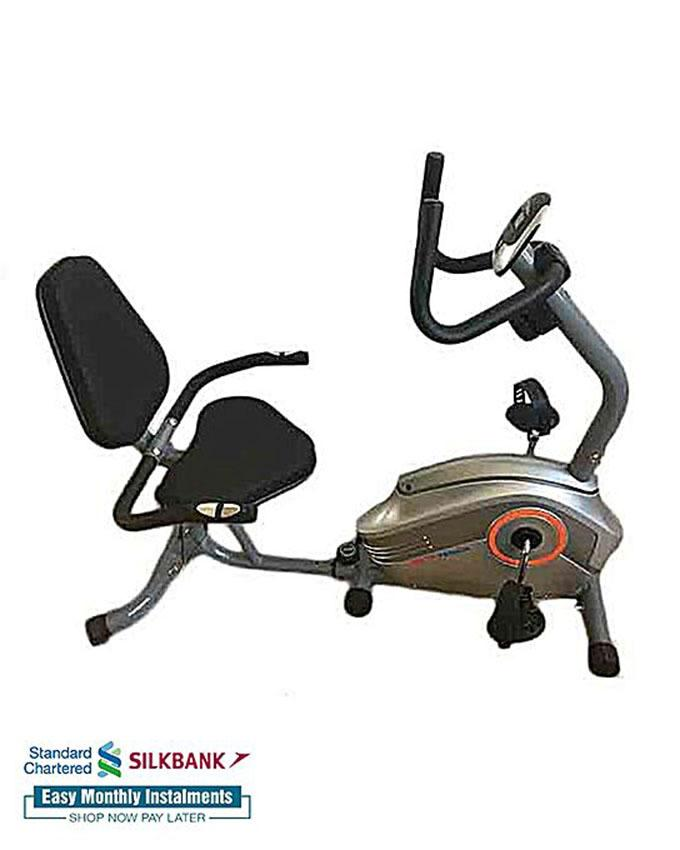 Fitness Club MT-11RB - Magnetic Recumbent Exercise Bike - Grey & Silver