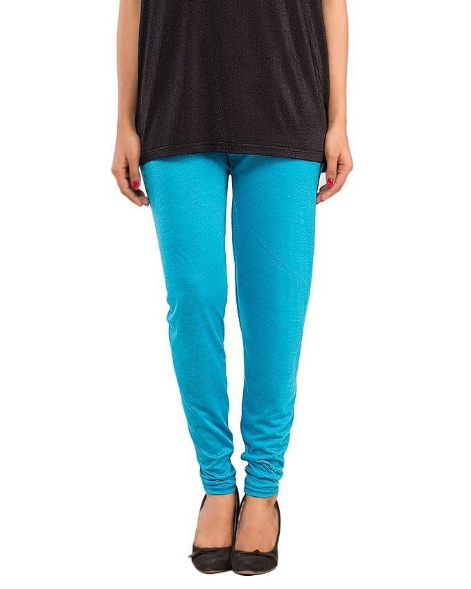 Light Blue Cotton Lycra Tights for Women