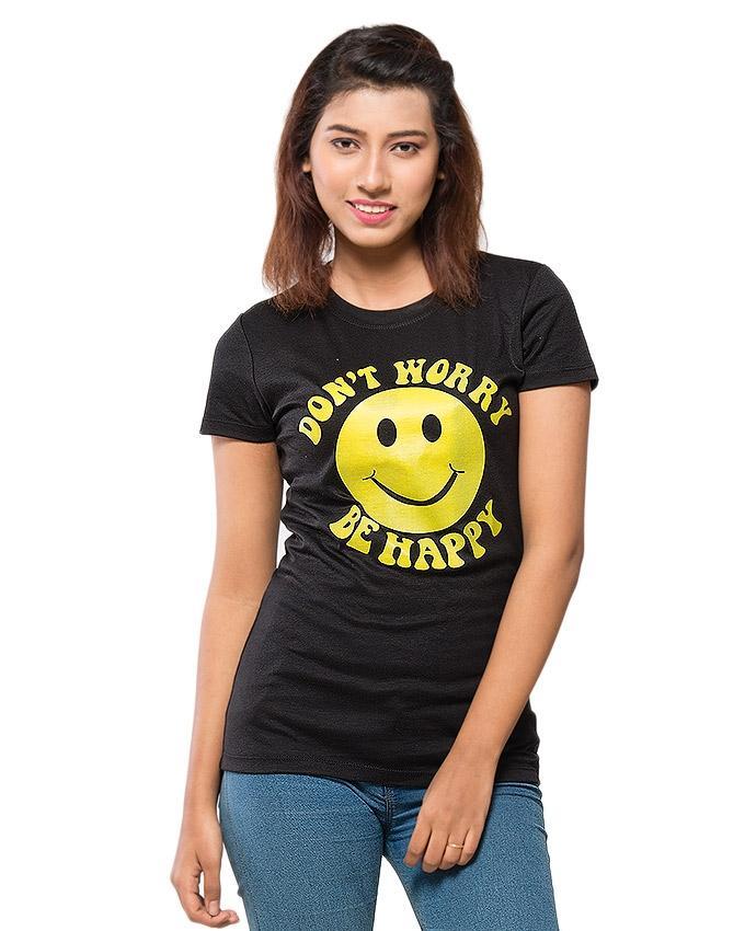 Black Blended Cotton Printed T-Shirt for Women