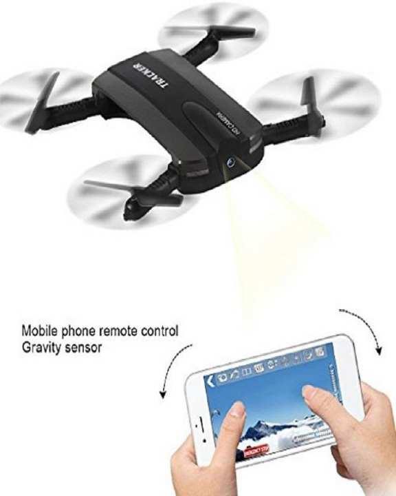 Mini RC Selfie Drone Tracker Camera Foldable - HD 720p - Black