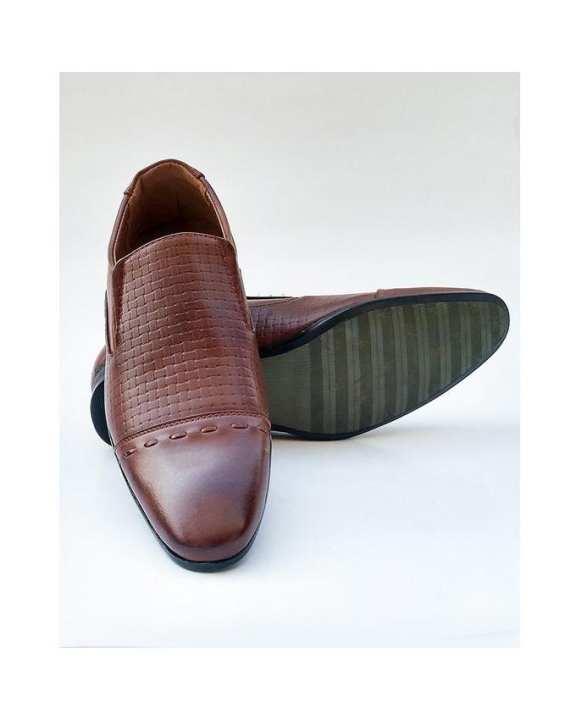 Dark Brown Leather Formal Shoes For Men