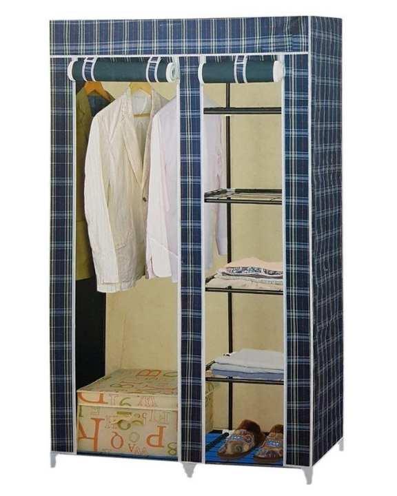Folding Canvas Wardrobe - 6 X 3.5 Feet - Blue