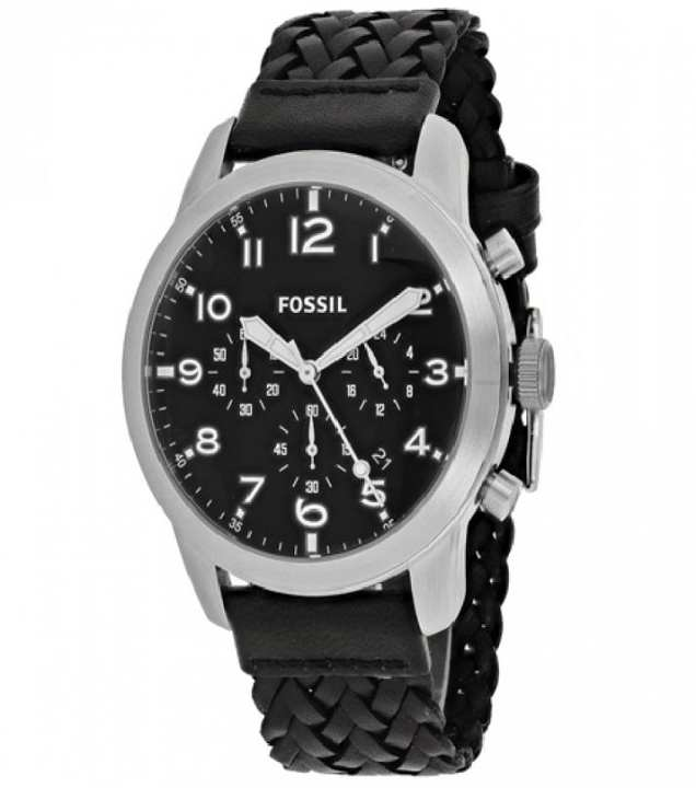 Fossil Pilot 54 Black Leather and Metal Chronograph Watch for Men - FS-5181