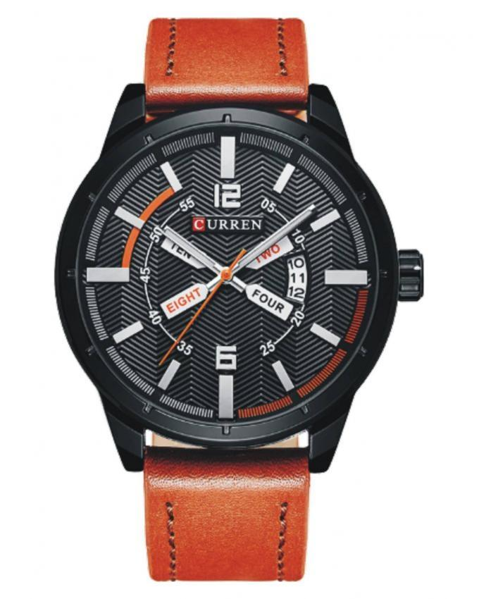 8211 - Black Leather Analog Watch for Men