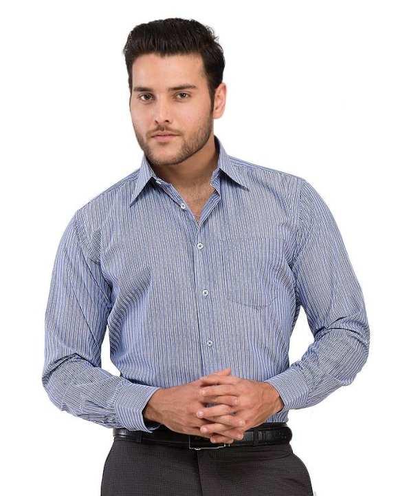 Blue - Cotton - Dress Shirt for Men