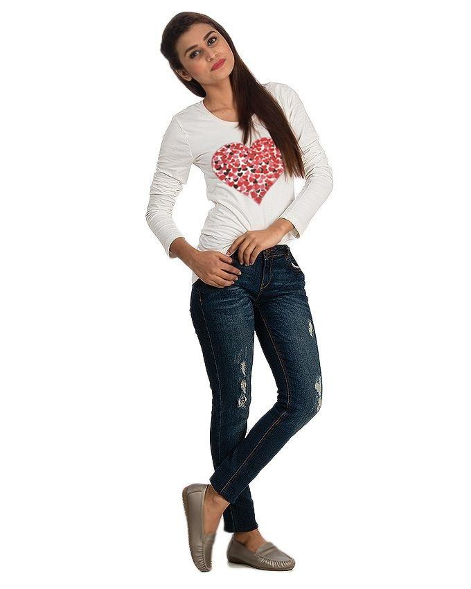 White Cotton Heart Printed T-Shirt for Women