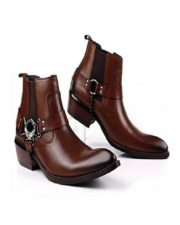 Brown Leather Lifestyle Boots For Men