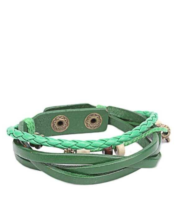 Green Leather Bracelet JP-1509