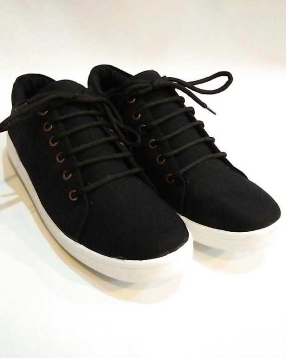 Black Canvas Sneakers Shoes For Unisex