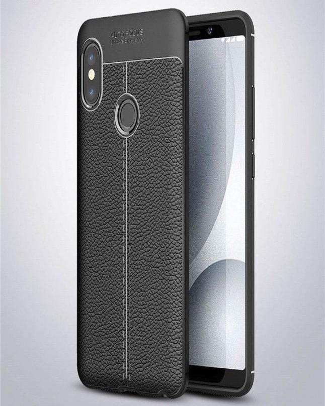 VIVO V9 Auto Focus Leather Texture Soft Case Black