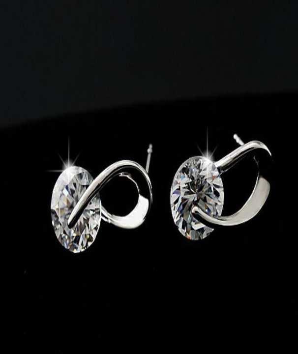 Zircon Crystal Stud Earrings - Silver
