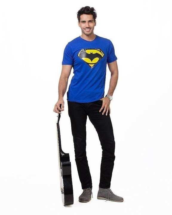 Royal Blue Cotton Superman Printed T-Shirt For Men