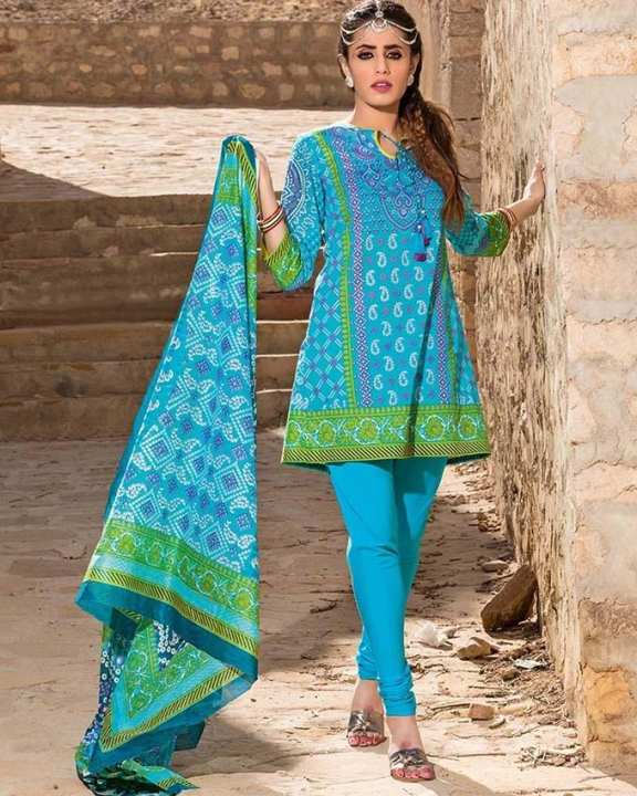 Sky blue Normal Printed 3 Pcs Lawn-Unstitched