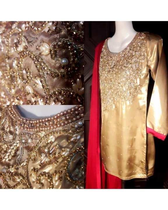 Gold Maroon Shimmer Silk Dress for Women  - A&S-6503