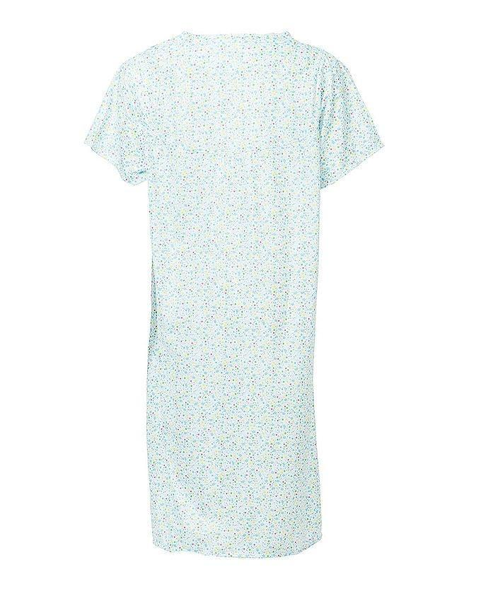 Blue Cotton Floral Nightwear For Women