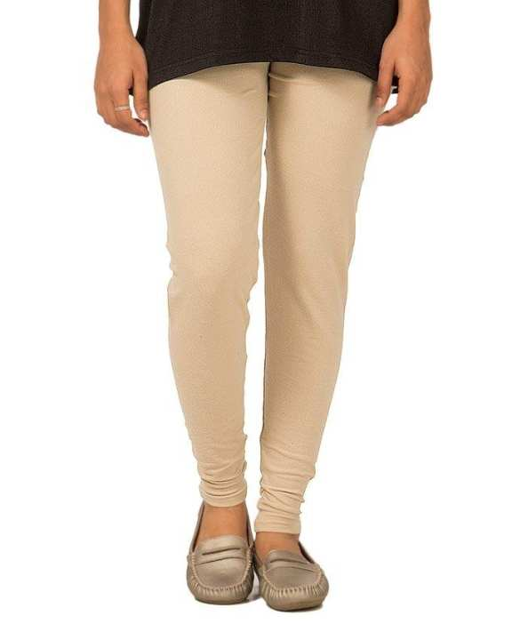 Cream Plain Lycra Tights For Women