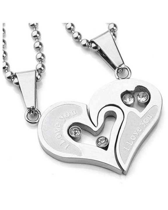 I Love You Stainless Steel Silver Pendant For Women - 2 Pcs