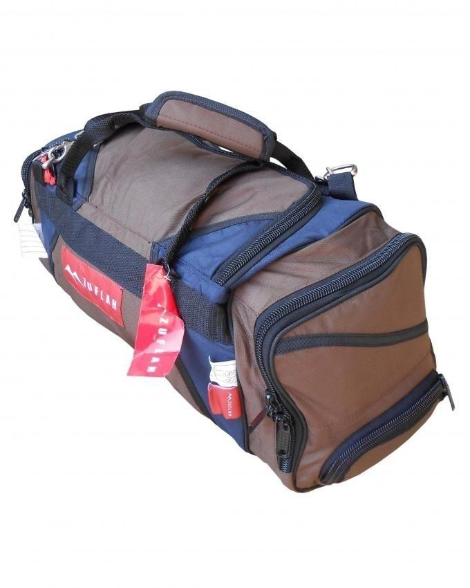 Travel Bag - Small - Brown & Navy Blue
