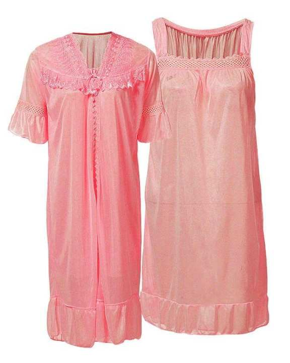 Rose Pink Nylon & Net Blossom Nightwear For Women