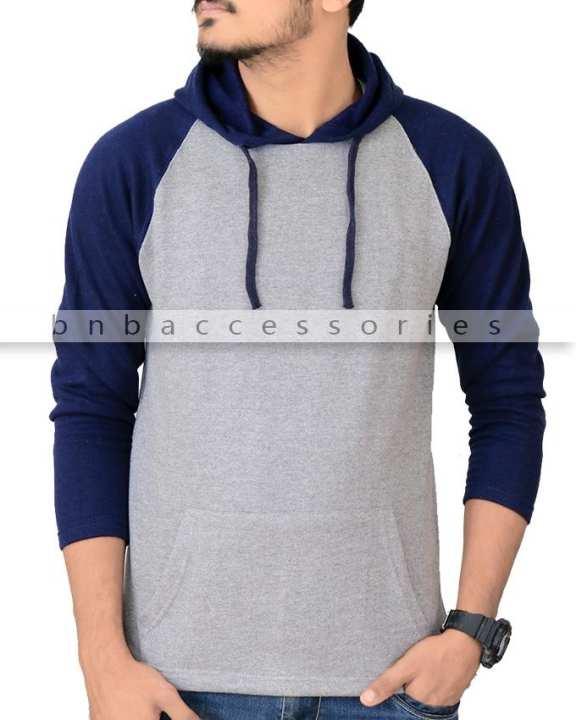 Grey Hoodie With Blue Panel Sleeves