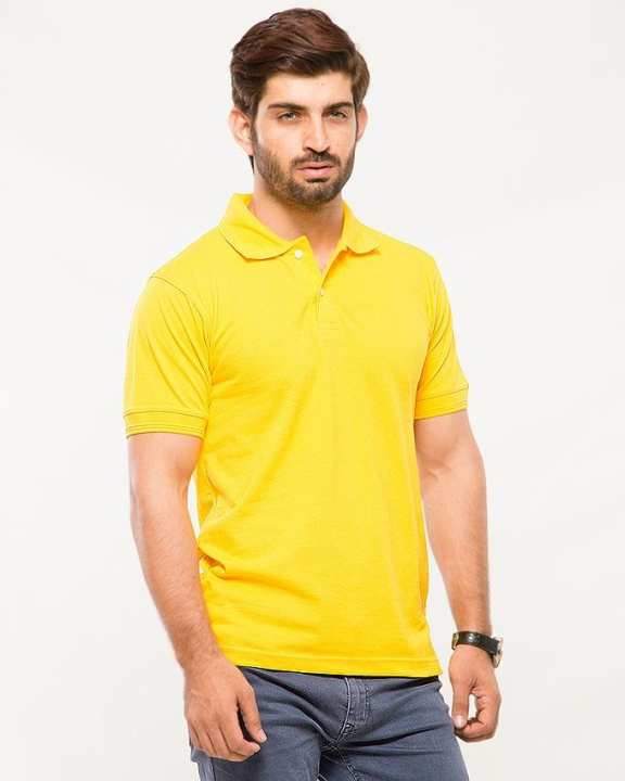 Yellow Poly-Cotton Polo T Shirt for Men