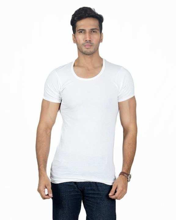 White Cotton Half Sleeve Vest For Men